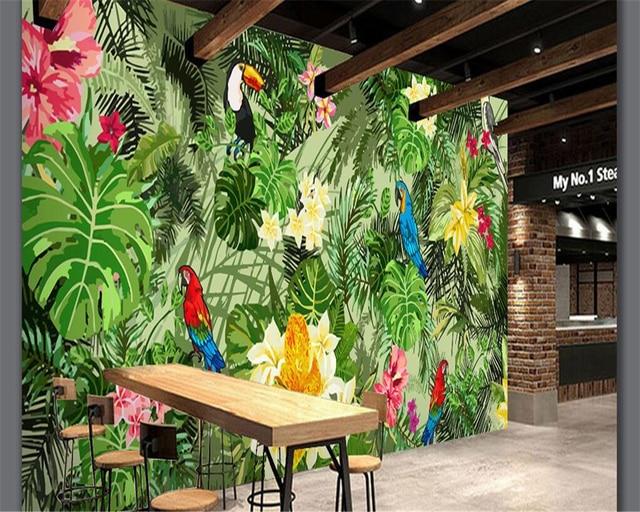 Carta Da Parati Foresta Tropicale : Beibehang alla moda carta da parati dipinta a mano pappagallo