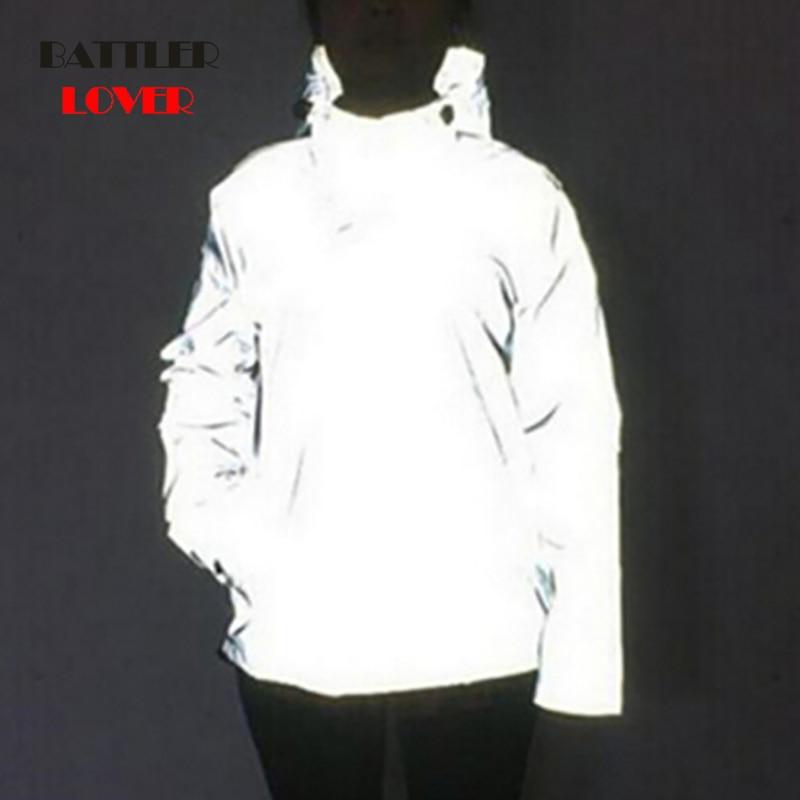 Reflective Jackets 2019 Windbreak Winter Jacket Men Hip Hop Hooded Coat Waterproof Zipper Coats Outwear Night Light Men Clothes