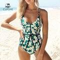 CUPSHE Junge Und Kraft Print einteiliges Badeanzug 2020 Mädchen Tiefem V ausschnitt Backless Bademode Frauen Sexy Strand Bodys Monokinis-in Body Suits aus Sport und Unterhaltung bei