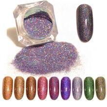 Sparkly Laser Glitter Per Unghie Polvere Holo Polvere Unghie Artistiche Polvere di Scintillio Della Decorazione
