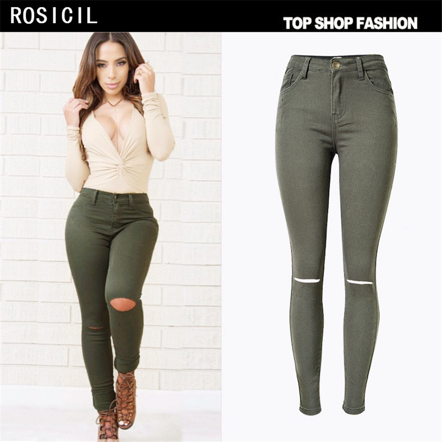 ROSICIL High Waist Jeans Women Ripped Jeans Women Hole Skinny Pencil Denim Pants Stretch Trousers Women's Jeans Femme TSL061# women s high street ripped knees jeans strech low rise denim pencil skinny pants trousers femme jeans for women jean hole jeans