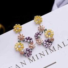 Ruifan Europe Hot Sale High Quality Colorful Flower Cubic Zircon Drop Earrings Women Fashion Earring Jewelry Gift Girl YEA061