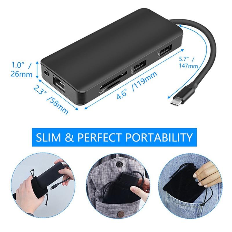 Adaptateur de moyeu 9 en 1 Type C USB C vers HDMI 2 USB3.0 lecteur de carte Micro SD/TF avec PD QJY99
