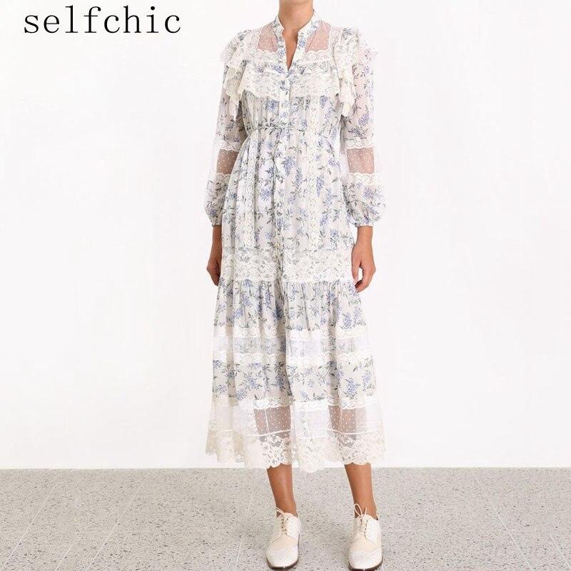 Robe de piste de haute qualité femmes dentelle Patchwork robes de soirée 2019