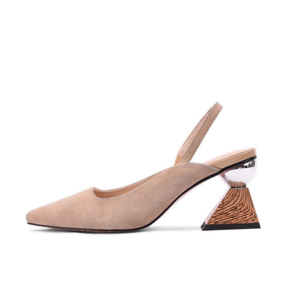 Kobiety Pointed Toe wysokie obcasy eleganckie Slingback pompy praca biurowa panie buty drewniane ziarna trójkąt czarny moreli MMS02 MUYISEXI w Buty damskie na słupku od Buty na  Grupa 3