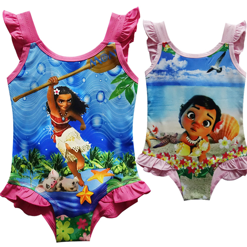 все цены на Moana Swimsuit Kids Dress for Girls Cartoon Moana Cosplay Swim Bathing Suits Party Summer Baby Girl Clothing Children Costume