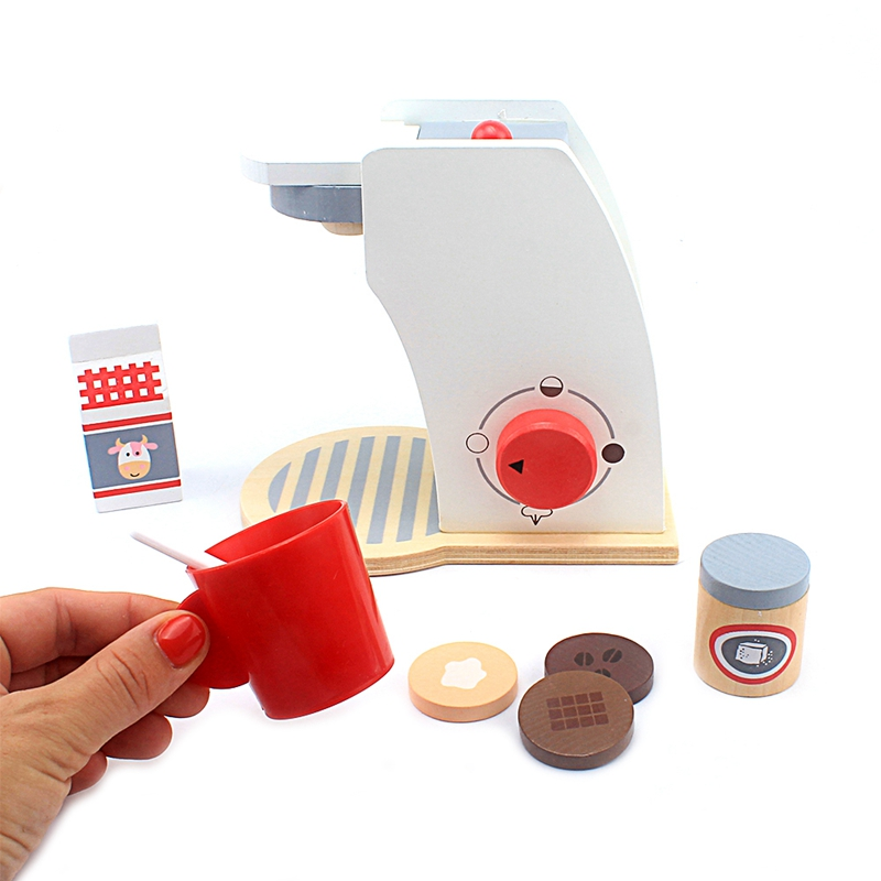 Wooden Simulation Coffe Pancake Mixer Machine Kids Kitchen Pretend Play Food Toy