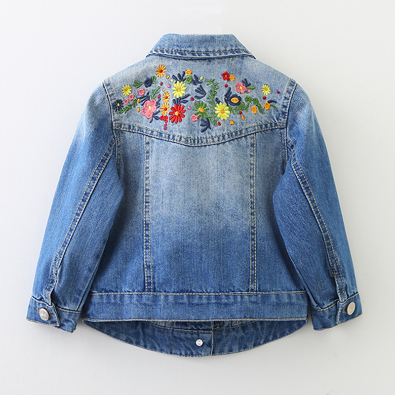 New Girls Denim Jackets Coats Floral Embroidery Children's Clothing Fashion Girls Outwear Spring Autumn Kids Jeans Jacket 2-9 Y 2018 autumn winter denim kids clothes embroidery floral jacket jeans 2pcs girls spring teenage girls clothing 6 8 10 12 years
