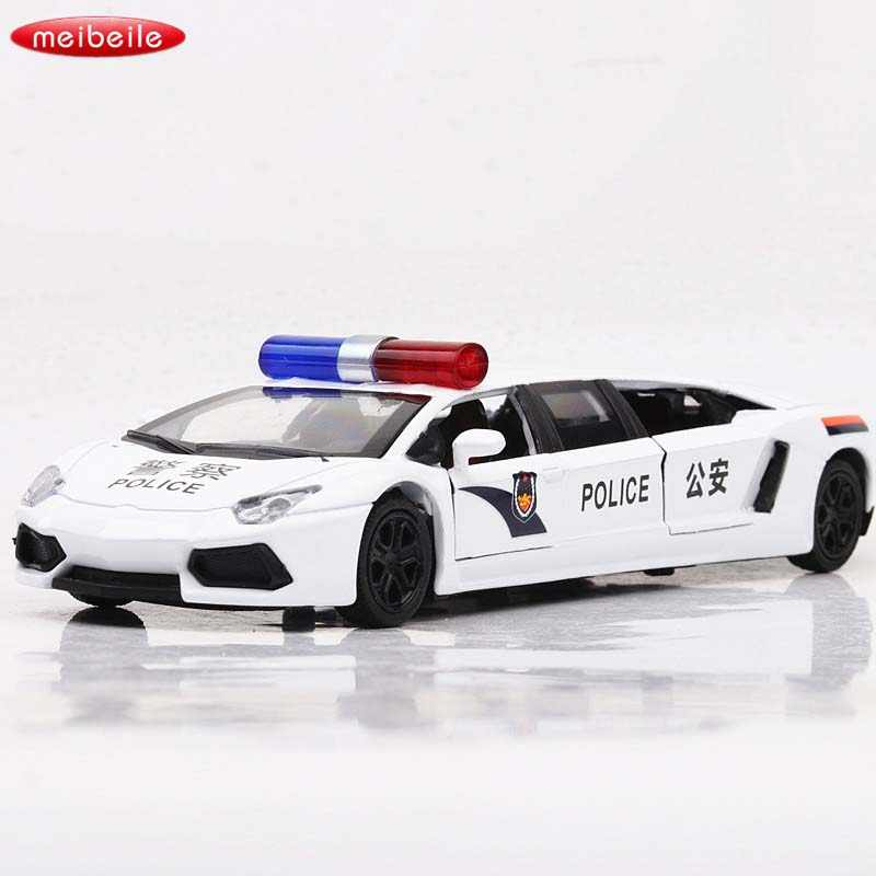 136 Alloy Lengthened Lamborghinis Sports Car Model Polices Car Electronic  light and sound Pull Back Cars Model Kids Toys