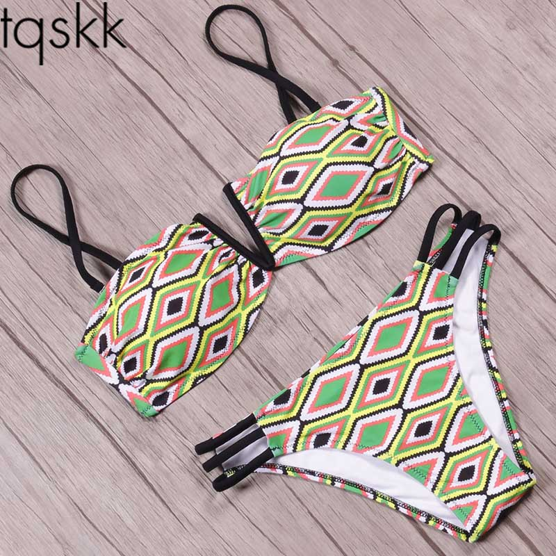 TQSKK Bikinis Women Swimsuit Female Swimwear 2017 New Sexy Brazilian Summer Bikini Set Bathing Suit Print Swimming Wear Biquini tqskk bikinis women swimwear 2017 new sexy cross bikini set swimsuit female retro summer beach wear bathing suit biquini swim