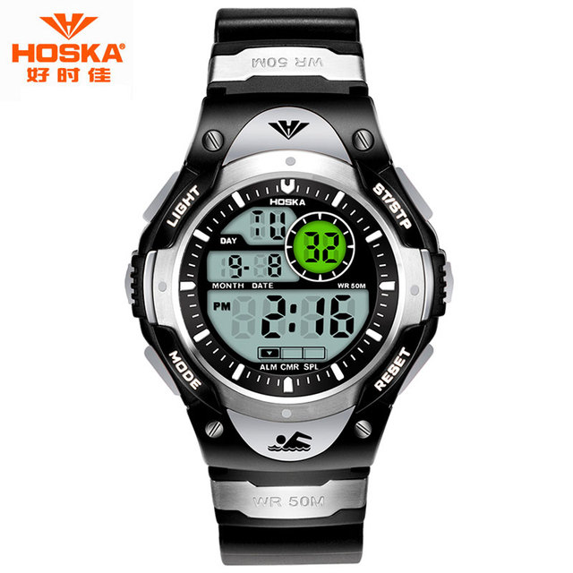 Crianças marca de relógios de HOSKA moda unissex Luminous Display LED Stop Watch Rubber Band impermeável Digital - relógio menina H013
