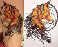 2016 21X15 CM Giallo Fox e Piuma Fresca Bellezza Tatuaggio Impermeabile Hot Autoadesivi Provvisori Del Tatuaggio