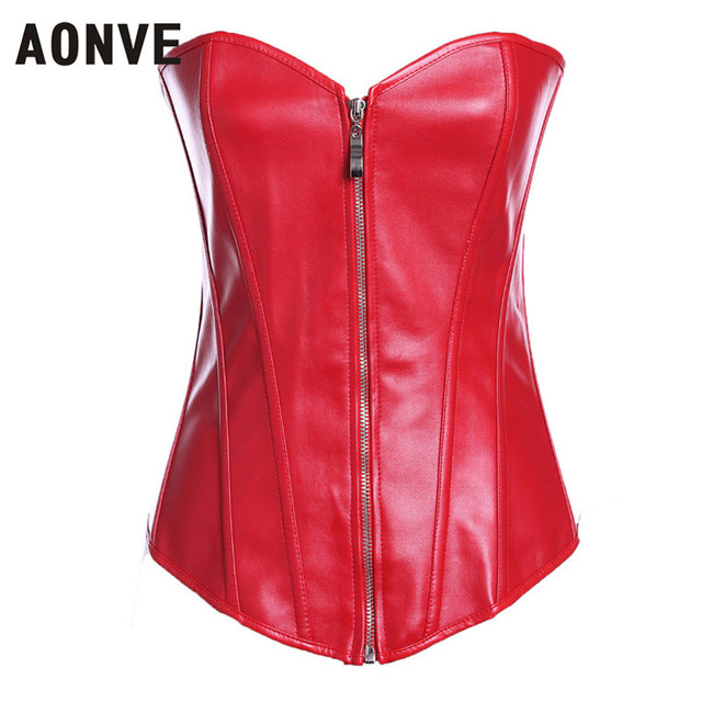 4a7d57cf4ac AONVE Women Corset Sexy Leather Corselet Gothic Clothing Zipper Waist  Trainer Lace up Clubwear Plus Size PVC Bustiers korzzet