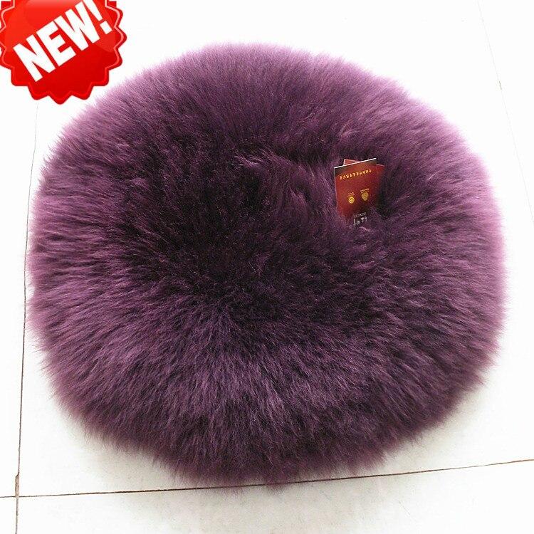 Luxueux coussin de siège de voiture en laine de mouton forme ronde coussin de chaise de sol en fourrure véritable 30 35 40 45 cm