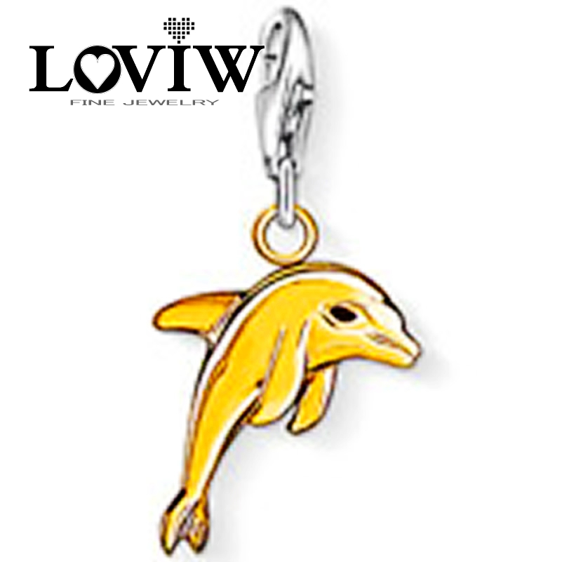 Fashion golden Dolphin,2018 Women Charm Fashionable Charm for Bracelet in Silver,Friend Gift thomas style jewelry new pendant