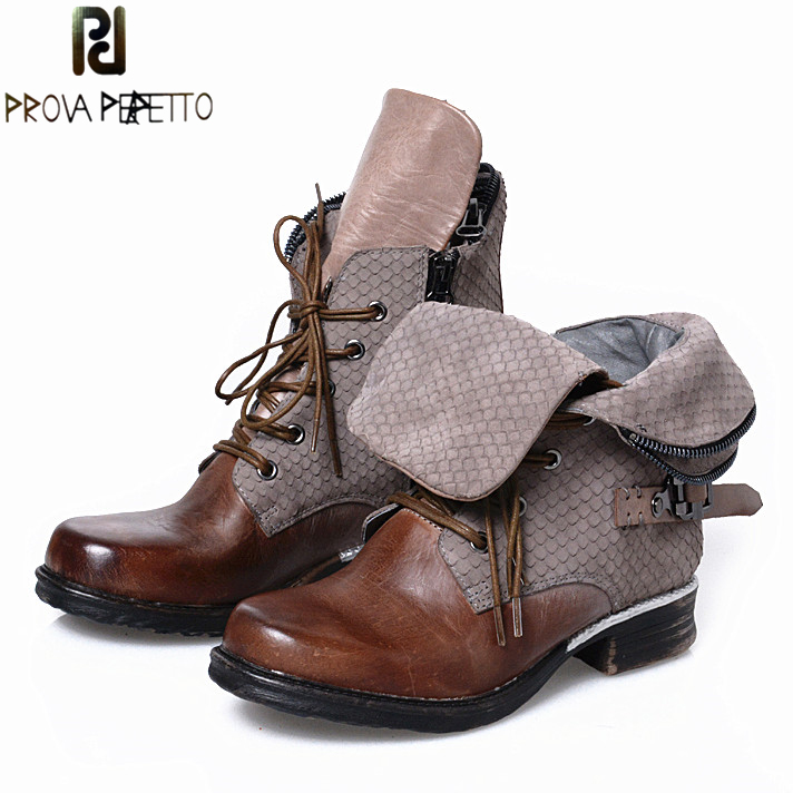 Prova Perfetto High Quality Ankle Boots Lace Up Motorcycle Boots Cool Casual Flats Square Toe Shoes Woman Design Zapatos Mujer