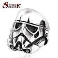 De acero soldado nuevo diseño estilo de la película star wars stormtrooper hombres personalidad anillo de acero inoxidable de la manera joyería BR8-264