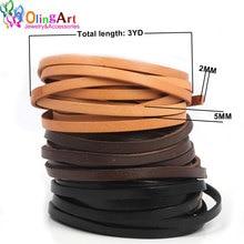 OlingArt 5*2 мм 3YD/лот черный/коричневый/кожаный цвет плоская кожаная веревка/Шнуры DIY ожерелье браслет серьги колье Изготовление ювелирных изделий