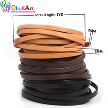 OlingArt 5*2mm 3YD/lot  Black/brown/leather color Flat Leather Rope/Cords DIY necklace Bracelet earrings choker jewelry making