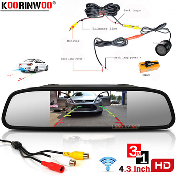 Koorinwoo 4.3 Inch TFT LCD Car Monitor Mirror Display 10 Lights Parking Rearview Camera Parking for Car Monitors Parking Assist image