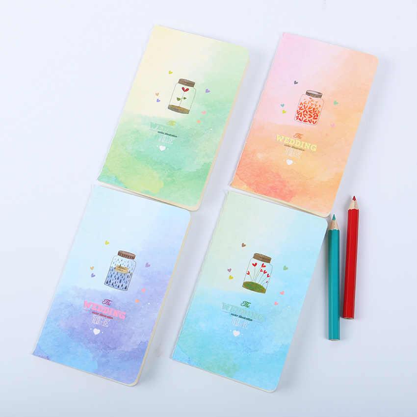 מיני חמוד Kawaii מחברת יומן יומן עם מרופד נייר בציר רטרו פנקס ספר לילדים קוריאני מכתבים