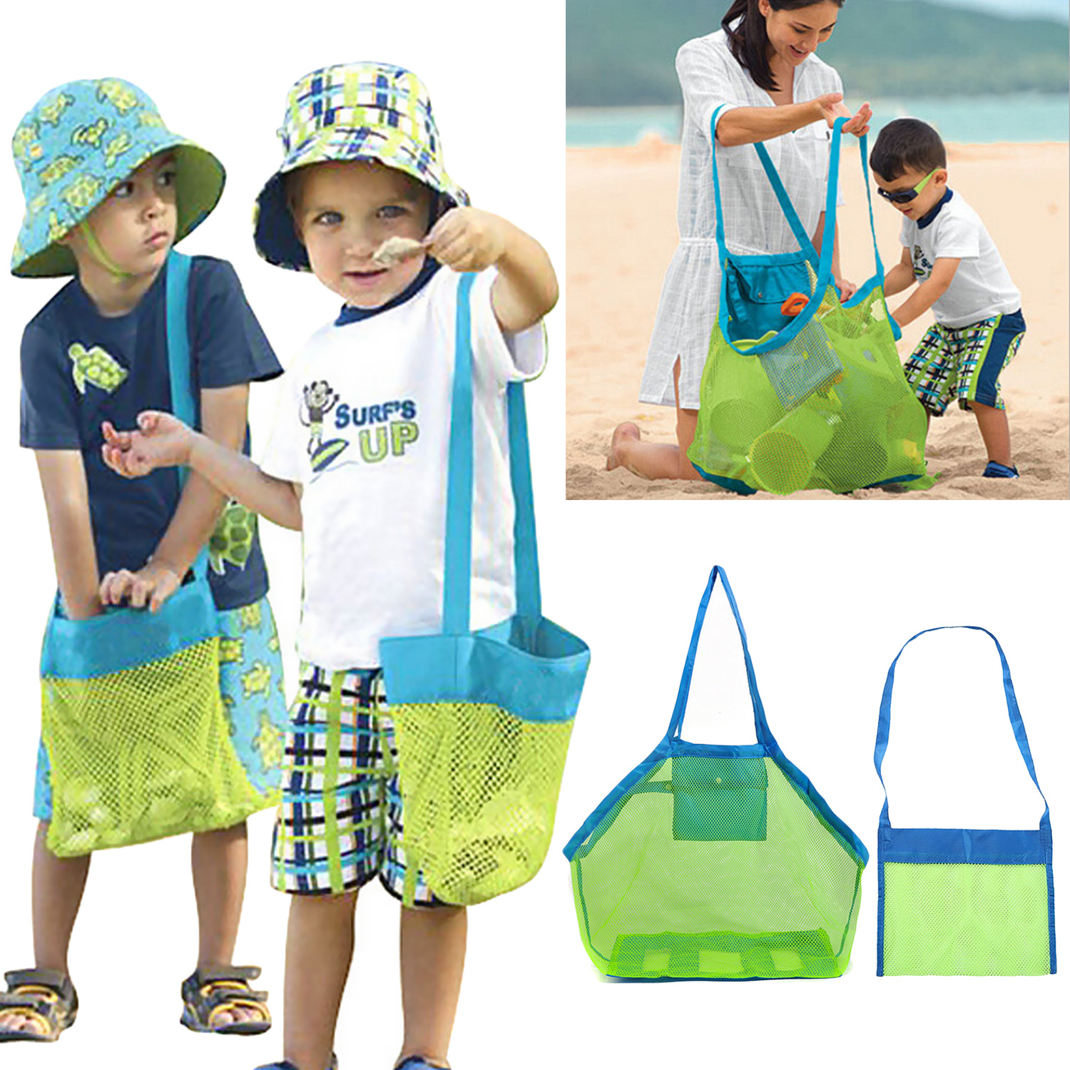 2PCS Portable Reusable Foldable Beach Mesh Tote Bags For Toys Towels Shell Swimsuits Sunglasses Goggles Snacks Size Large Small
