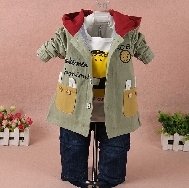 цена на new 2017 spring boys cartoon rabbit coat+t shirt+jeans clothing sets 3pcs kids clothes sets kids garment boys suit set boy