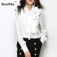RealShe Women Blouse Women Ruffles Shirt Korean Fashion Style Women Clothes New High Quality Full Sleeve