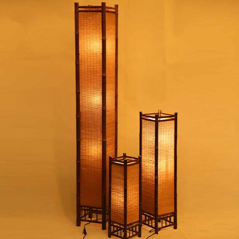 Vintage Handcraft Bamboo Floor Lamp Japan Style Bamboo Light Fixtures Night Standing Lamp Modern E27 Bulb Home Bedroom Decor