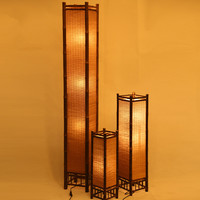 Vintage Handcraft Bamboo Floor Lamp Japan Style Bamboo Light Fixtures Night Standing Lamp Modern E27 Bulb Home Bedroom Decor