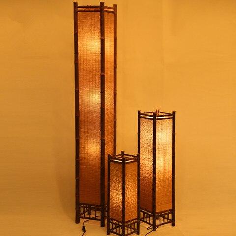 artesanato de bambu do vintage lampada assoalho japao estilo bambu luminarias noite em pe moderna