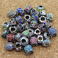 New Free Shipping 50pcs Mix Style Antique Silver Plated Alloy With Rhinestone Big Hole Charms Beads fit Pandora Bracelet DIY