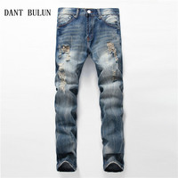 DANT BULUN High Quality Fashion Men S Jeans Dark Blue Color Slim Straight Ripped Biker Jeans
