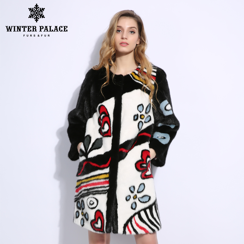 Playful pattern mlnk coat Round neck mlnk coats women real fur mlnk fur coat Imported velvet level
