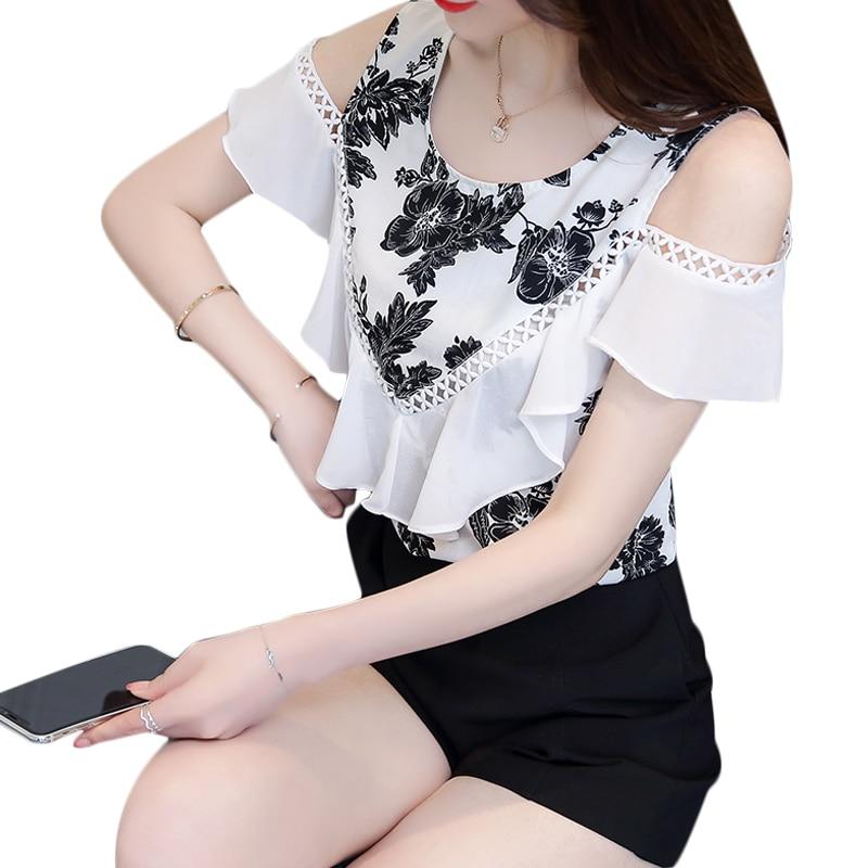 2018 New Women Blouse Casual Chiffon Short Sleeve Shoulder Fashion Sexy Tops Pint O-Neck ...