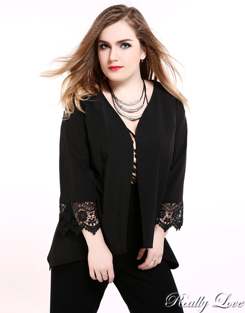 ab5424ec781 Cute Ann Women s Black Lace Patchwork Plus Size Duster Coat Long Sleeve  Open Stitch Duster Cardigan Jacket Summer Casual Wear