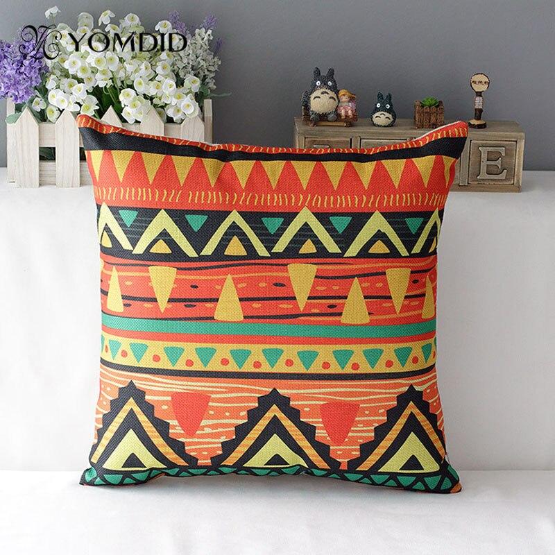Средиземноморский Чехлы красочные декоративные подушки полосатый бросить подушку Этническая cojine Housse де coussin almofada декоративные