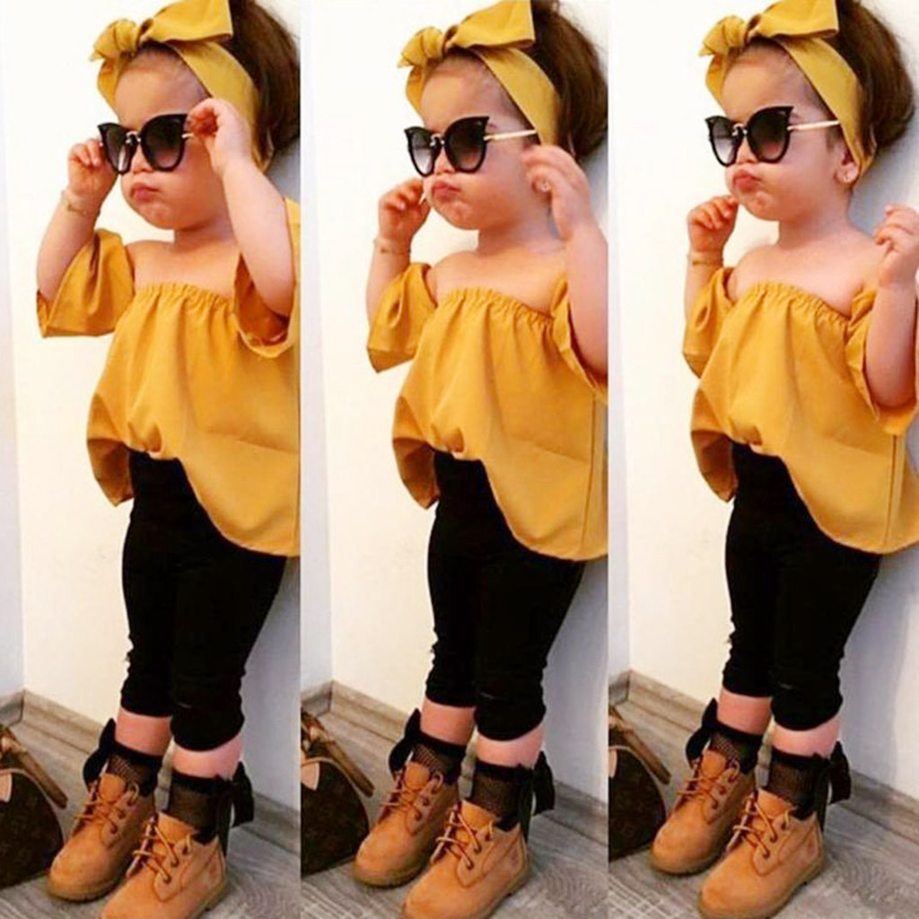 Toddler Kids Baby Girls Outfits 3pcs bebek giyim Off Shoulder T-shirt Tops+Pants+Headband baby girl Set ubranka dla niemowlat girl