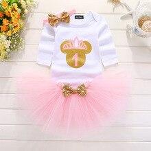 Нарядное платье для первого дня рождения «My Little» для маленьких девочек, милые нарядные розовые наряды-пачки, платья для младенцев, одежда для крещения для маленьких девочек 0-12 месяцев