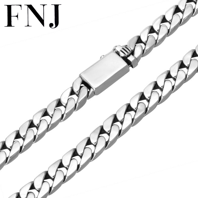 FNJ 8mm Big Chain Punk Necklaces 925 Silver 55cm to 60cm Fashion Original S925 Thai Silver