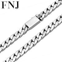 FNJ 8 мм большой цепи Панк ожерелья 925 Silver 55 см до 60 см Мода оригинальный S925 тайский серебряный Для мужчин Цепочки и ожерелья ювелирные изделия