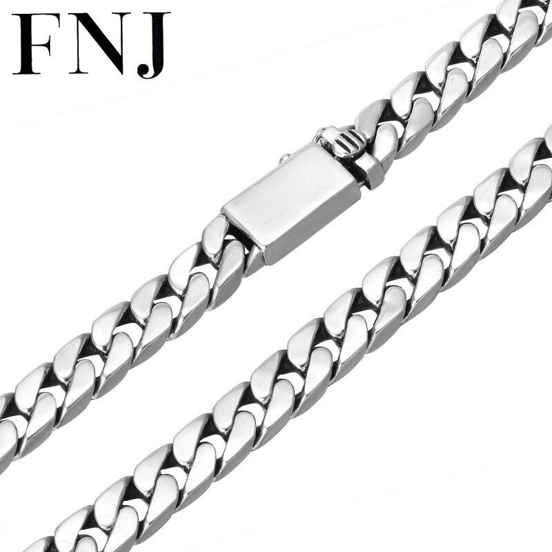 FNJ 8mm grande chaîne Punk colliers 925 argent 55 cm à 60 cm mode Original S925 Thai argent hommes collier bijoux