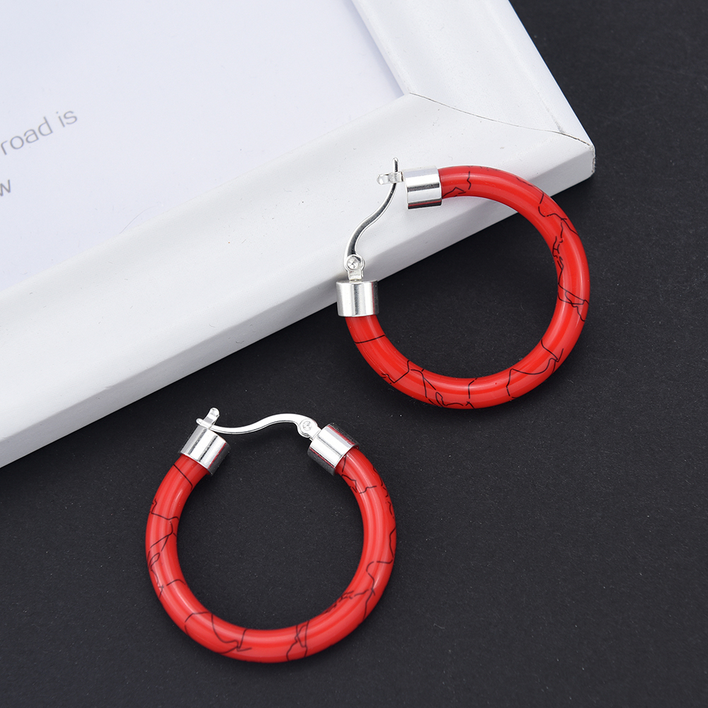 HTB1K 8DUgHqK1RjSZFgq6y7JXXaK - White/Black/Red/Blue Bohemian Stainless Steel Big Round Circle Hoop Earrings For Women Exaggerated Charms Resin Printing Earring