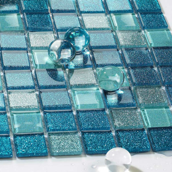 glass backsplash kitchen tile blue glass mosaic 18460