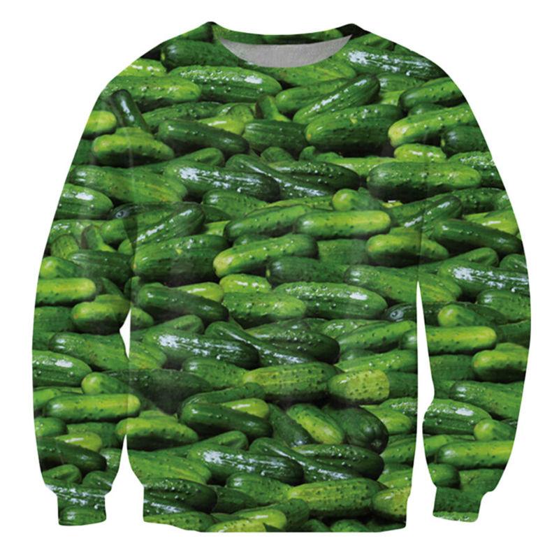 Harajuku Mens Hoodies And Sweatshirts 3D Printed Pickles Cucumber Graphic Streetwear Long Sleeve Shirt Tops Sudaderas Hombre