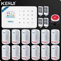 Kerui W18 беспроводная Wi-Fi GSM IOS/Android приложение управление ЖК GSM SMS Охранная сигнализация система для домашней безопасности PIR сенсор проводная с...