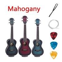 Acoustic Electric Concert Ukulele 23 Inch Hawaiian Guitar 4 Strings Ukelele Guitarra Mahogany Handcraft Blue