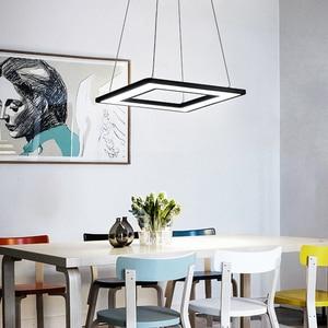 Image 5 - Rectangle or Square Lights White or Black Modern Led Pendant Lights For Living Room Dining Room Kitchen Room Pendant Lamp