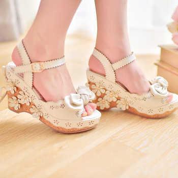 Sweet Pink/White Bow & Flowers Platform Wedge Sandals Princess Lolita Girls Summer Shoes