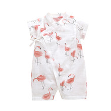 Rompers String Closure O-Neck 100% Cotton Short-Sleeves Cute Kimono Tees Absorbent Breathable Cool 6-12 Months